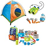 6-Piece Camping Playset With Tent, 15-Piece Full Survival Plastic Toys With 6X Binoculars, Learning Resources, Kids Outdoor Camping Play Set, Adventure, Discovery, Life Skills, Imaginative Play