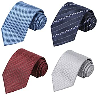KissTies Set of 4 Ties For Men Suit Necktie Party Tie + 1 Magnetic Box