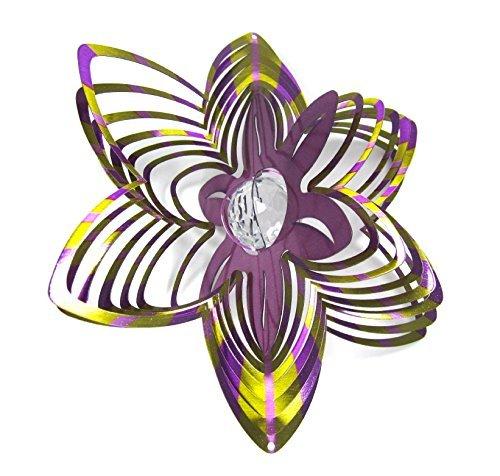WorldaWhirl Whirligig 3D Wind Spinner Hand Paint Crystal Flower (12
