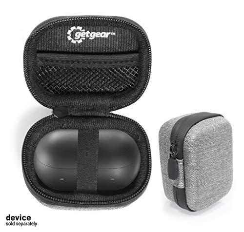 Tweed Gray +Black Protective Case for Samsung Galaxy Buds, Customized case for Bluetooth True Wireless Earbuds Charging case, mesh Accessory Pocket, Elastic Security Elastic Strap to Keep Device Safe