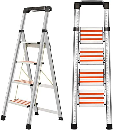 Escalera En Espiga Acero Inoxidable Tallado de Engrosamiento de la Pared Plegable de múltiples Funciones del hogar Pequeña Escala Liuyu. (Size : 4 Step Ladder): Amazon.es: Hogar