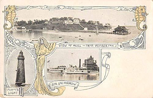 Hull Massachusetts Birds Eye View Minot's Light House Vintage Postcard JB626187