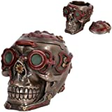 Mad Max Style Steampunk Gearwork Nuclear Submariner Skull Jewelry Box Figurine