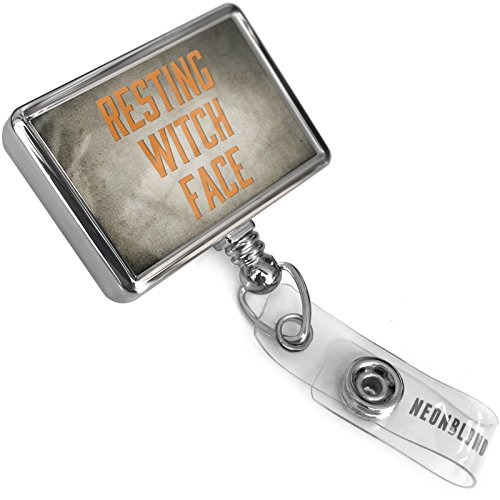 Retractable Plastic ID Badge Reel Resting Witch Face
