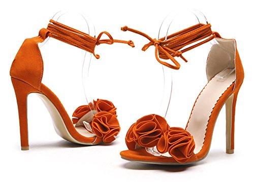 Aisun Womens Open Toe Sandals With Flower - Self Tie Very High Heel Sexy - Party Club Ankle Wrap Stilettos Orange mdNXF85