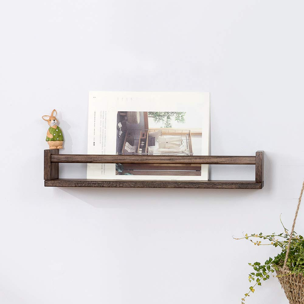 INMAN Wooden Nursery Room Floating Wall Shelves Nursery Decor for Baby's Room Kitchen and Bathroom (Walnut, 16'')