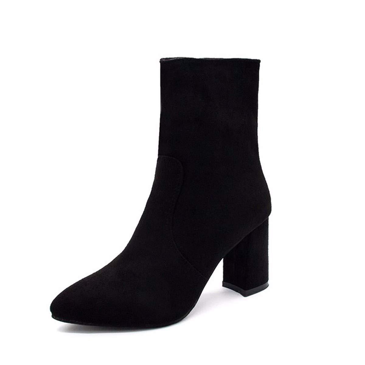 HBDLH Damenschuhe Baitao Wildleder 8Cm Heel Stiefel Spitz Modisch Modisch Modisch Martin Stiefeln Dicken Heels Stiefel Mitte 2792eb