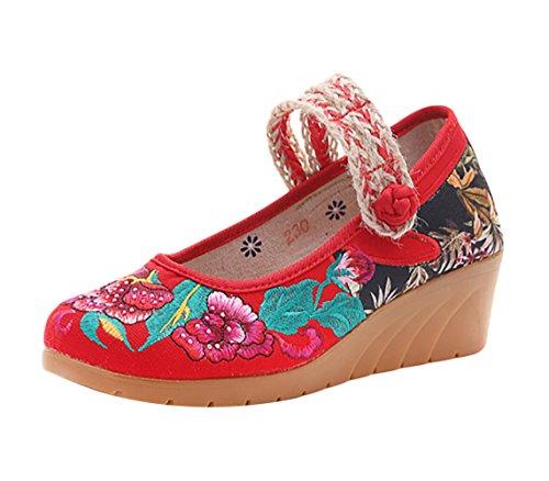 Insun Zapatos Bailarinas con Correa Mary Jane Alpargatas Para Mujer Rojo