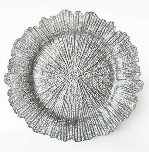 Mikash Round 13 Inch Charger Plate with Shiny Finish (Reef Pattern) | Model WDDNGDCRTN - 23942 | 24 pcs