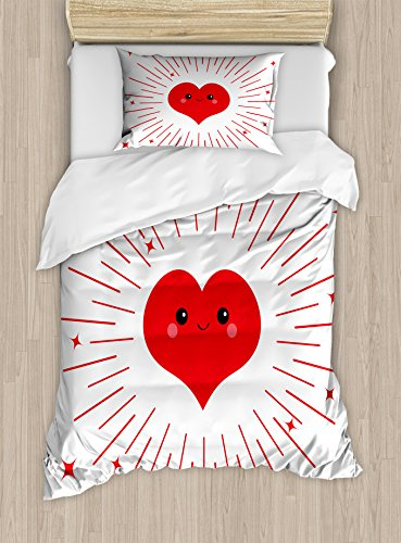 Lunarable Kawaii Twin Size Duvet Cover Set, Cute Heart with Stripes and Stars Love Affection Themed Valentines Day Illustration, Decorative 2 Piece Bedding Set with 1 Pillow Sham, Red White
