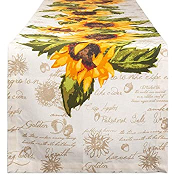 DII Cotton Table Runner for Dinner Parties, Weddings & Everyday Use, 14x72, Rustic Sunflowers