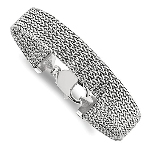 ICE CARATS 925 Sterling Silver Link Mesh 7.5 Inch Bracelet Fancy Fine Jewelry Ideal Gifts For Women Gift Set From (925 Silver New Bracelet)