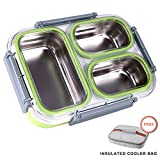 Slim Bento Lunch Box Set-- All-in-one Stylish Leak-proof Food Container with 3 Removeable Stainless Steel Compartments For Adults with Insulated Cooler Bag- Dishwasher Microwave Safe