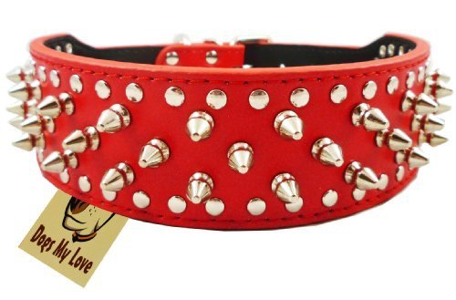 "14.5""-17.5"" Red Leather Spiked Studded Dog Collar 2"" Wide, 25 Spikes 44 Studs, Pit Bull, Boxer"