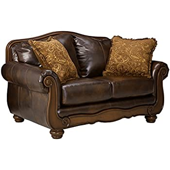 Lovely Ashley Furniture Signature Design   Barcelona Sofa Loveseat With 2 Accent  Pillows   Traditional With Faux