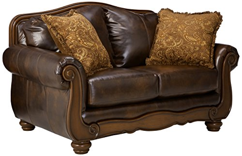 Barcelona Sofa (Ashley Furniture Signature Design - Barcelona Sofa Loveseat with 2 Accent Pillows - Traditional with Faux Leather - Antique Brown)