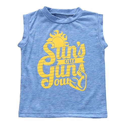 Toddler Boys Sun's Out Guns Out Tank Top Sleeevless T Shirt (2T, Blue)