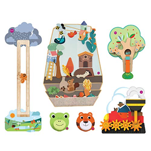 - ORIBEL VertiPlay Wall Toys Meadow Combo Set (Enchanted Garden, Slidey Spidey, Round and Round Goes Mr Bear, Busy Woodpecker, Croakky and Roarry Door Knockers)