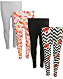 'dELiAs 4 Pack Girl's Basic Yummy Active Leggings, Pink/Red Flower, Size 10/12''