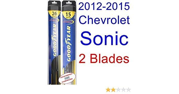 2012-2015 Chevrolet Sonic Replacement Wiper Blade Set/Kit (Set of 2 Blades) (Goodyear Wiper Blades-Hybrid) (2013,2014)