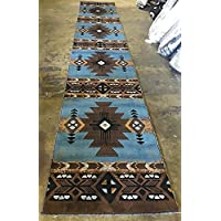 Southwest Native American Long Runner Area Rug Blue Brown Concord Design C318 (32 Inch X 15 feet 6 Inch
