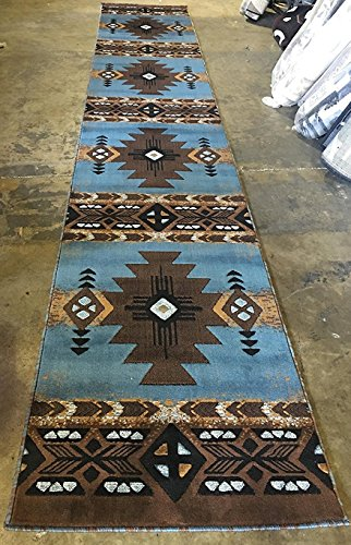 Southwest Long Runner Native American Tribal Area Rug Blue & Brown Design C318 (32 Inch X 15 Feet 6 - Tribal Round