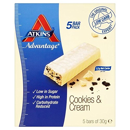 Atkins Advantage Cookies & Cream bars 5 x 30g - Pack of 2