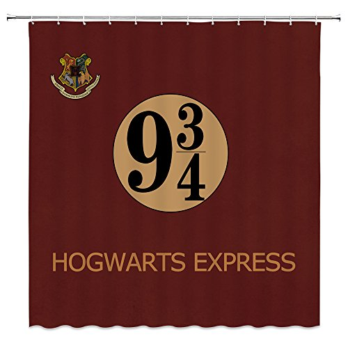 Platform 9 3/4 Shower Curtain Decor Secret Passage of London King's Cross Railway Station to Magic School Vintage Dark Red Bathroom Curtain Polyester Fabric Machine Washable with Hooks 70x70 Inches