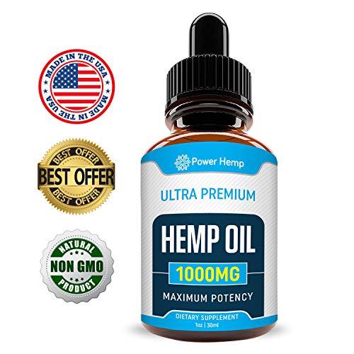 Hemp Oil 1000mg Full Spectrum - for Pain Relief, Stress & Inflammation - Anti-Anxiety - Improves Mood, Sleep Patterns, Hair - Sans CBD