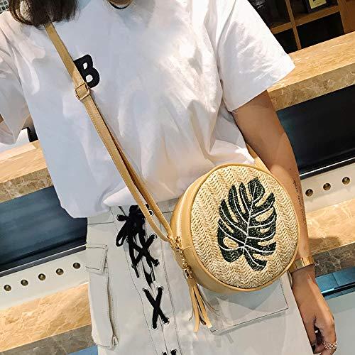 Majome Cruzadas Armadura la Bolsas Messenger de Hombro de la Paja de Mujeres Bolso Leaf borlas la Las de Bordado piña la de de Hoja de 1nqr17WUR4