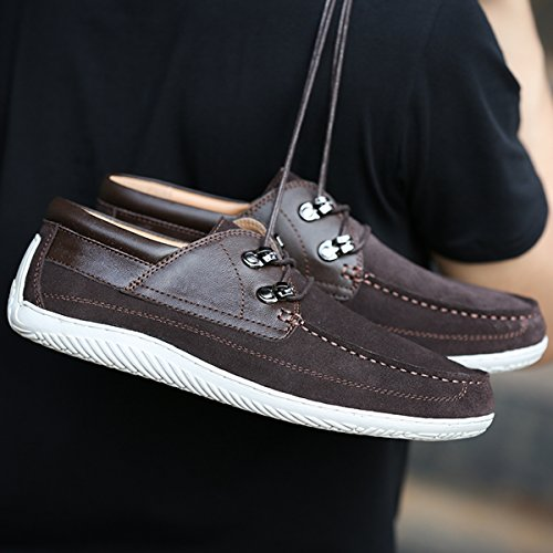 Minishion Boys Mens Moc-toe Lace-up Suede Casual Shoes Fashion Sneakers Coffee z60W4Or6