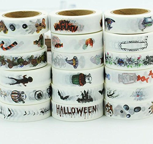 Awerise 5 Rolls Halloween Washi Tape, DIY Scrapbooking Decorative Tape, Masking Tape, Planner Tape, Craft Gift Decoration Tape