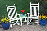 2 Rockers And Table Set Classic Back White