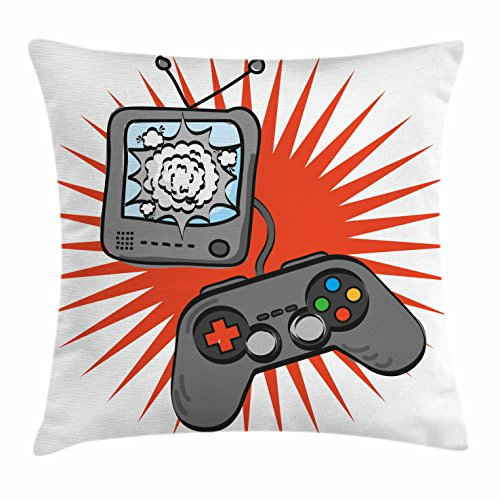 Lunarable Boy's Room Throw Pillow Cushion Cover, Video Games Themed Design in Retro Style Gamepad Console Entertainment, Decorative Square Accent Pillow Case, 18 X 18 Inches, Orange Grey White by Lunarable