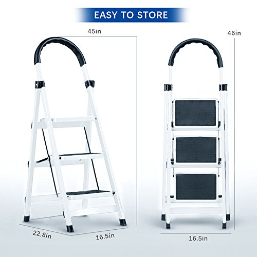 Gimify 3 Step Ladder Household Folding Steel Frame Stool Platform Ladder Anti-Slip Portable White (3 Step) by Gimify (Image #6)