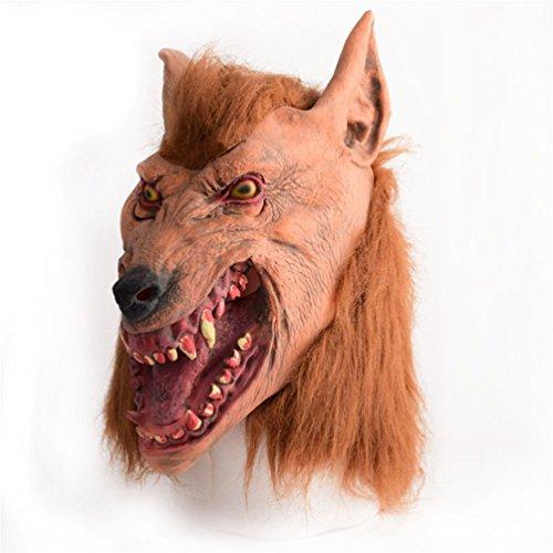 Big Bad Wolf Costume Kids Diy (Gooday Halloween Brown Creepy Adult Wolf Head Latex Rubber Mask Costume Prop Novelty)