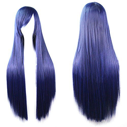 Long Straight Anime Supia-Yisol Cosplay Wigs 80cm Navy Blue