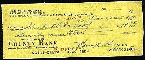 Harry Hooper JSA Signed Autograph 1965 Check Autograph Certified