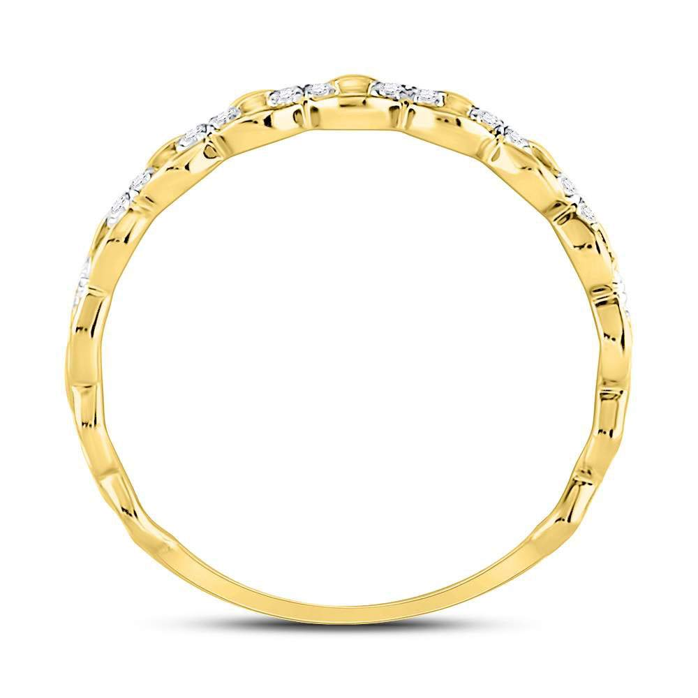 Diamond Link Fashion Ring Stackable Band Style 1//8ct 10k Yellow Gold