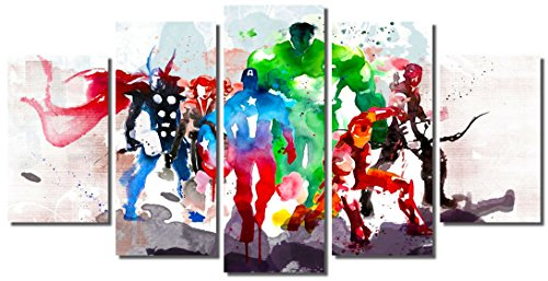 Picture Sensations Framed Canvas Art Print, Abstract Watercolor Marvel Avengers Super Hero Wall Canvas Art - 60''x32'' by Picture Sensations