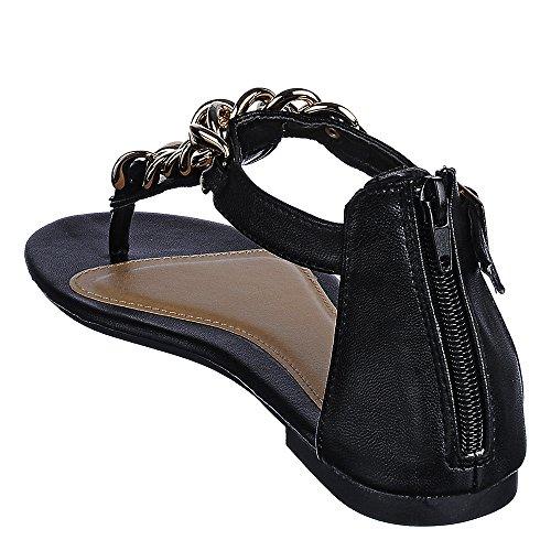 Bamboe Josalyn-01 Sandaal Zwart
