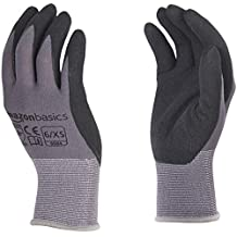 AmazonBasics Micro-Foam Nitrile Coated Gloves, Nylon Liner Fiber, Touch Screen, Grey, 12-Pair