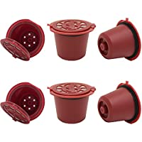 i Cafilas Reusable Capsules Refillable Coffee Capsule Filter Compatible for coffee machines with Coffee Spoon brush (6, Red)