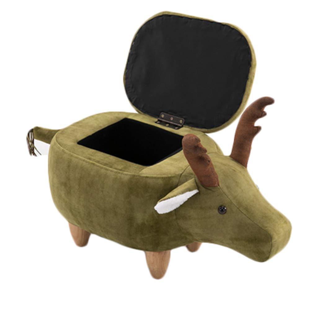 Kinderhocker Wood Fawn Hocker Animal Hocker Sitz Weißh Waschbar Sitzend Und Bequem Mit Aufbewahrungsbox Coffee- Without lid Grün With lid