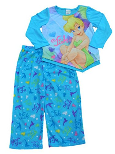 Disney Girls Blue Tinkerbell Pajama Top & Bottoms 2 Piece Sleep Set PJs Size 4 ()