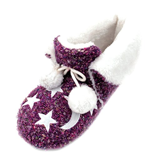 Luckers Womens Moon And Stars Slippers Booties Dawn