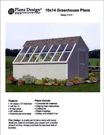 10' x 14' Backyard Storage Shed / Garden Greenhouse Project Plans