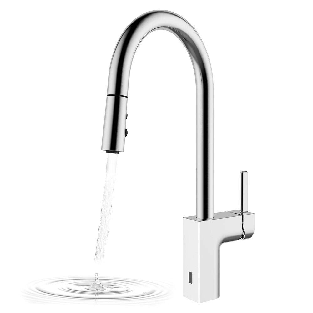 Kitchen Faucets Hands Free, Two-Sensor Pulldown Touchless Kitchen Sink Faucet with Sprayer Head, New Square Modern Commercial Kitchen Faucet, Brushed Nickel Finish