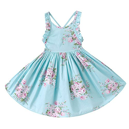 Bcaur Girls' 2T-12 Cotton Floral Dress Summer Backless Casual Sundress,Blue,7-8