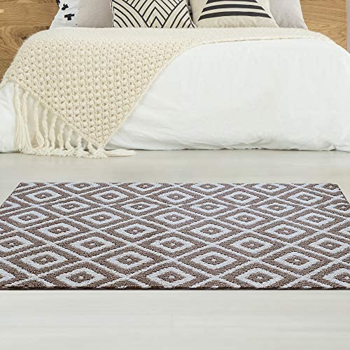 iCustomRug Shakra Geometric Non Skid, High Low Loop Pile, Stain Resistant, Washable Area Rug